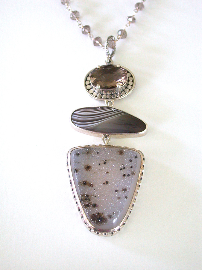 Amy Kahn Russell Online Trunk Show: Smoky Quartz, Botswana Agate & Brazilian Agate Drusy Necklace | Rendezvous Gallery