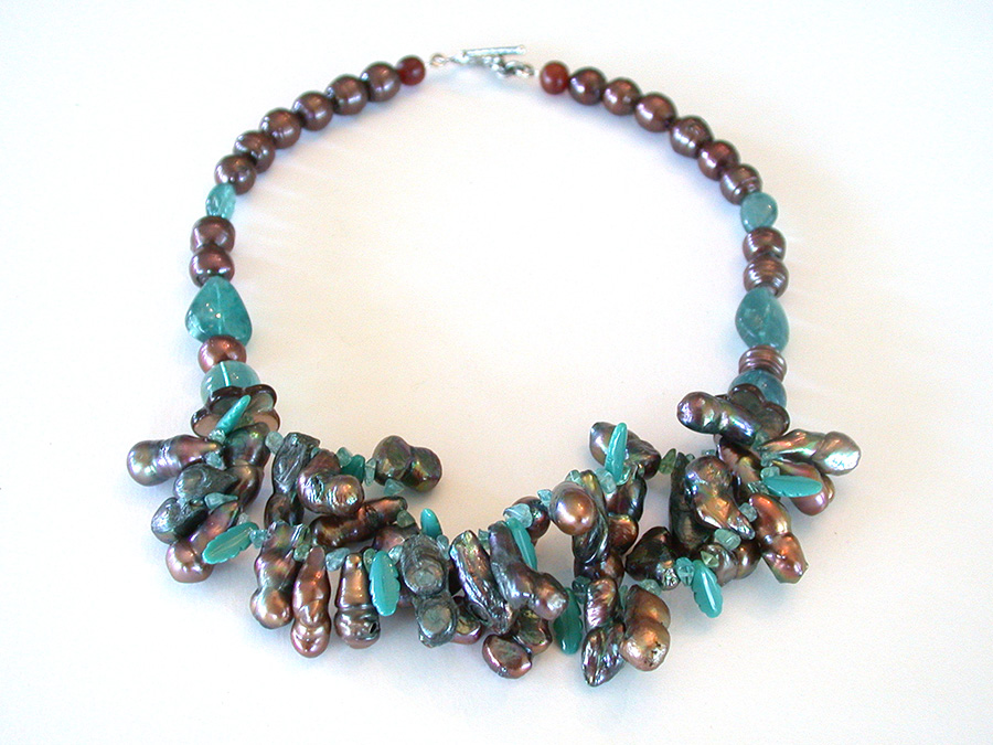 Amy Kahn Russell Online Trunk Show: Apatite, Freshwater Pearl & Hand Made Glass Necklace | Rendezvous Gallery