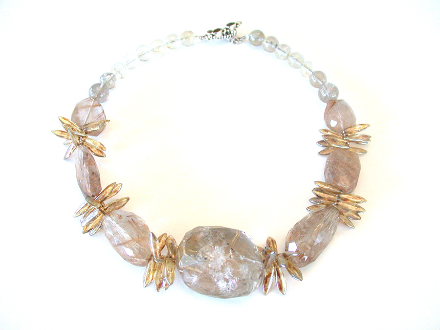 Amy Kahn Russell Online Trunk Show: Rutilated Quartz & Glass Bead Necklace | Rendezvous Gallery