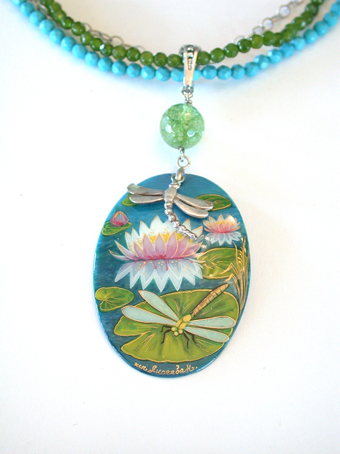 Amy Kahn Russell Online Trunk Show: Russian Hand Painting on Mother of Pearl, Turquoise & Crystal Necklace | Rendezvous Gallery