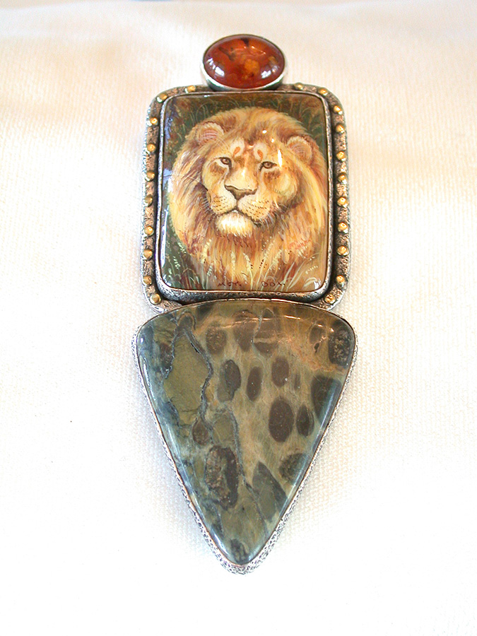 Amy Kahn Russell Online Trunk Show: Amber, Russian Hand Painting on Black Onyx & Jasper Pin/Pendant | Rendezvous Gallery