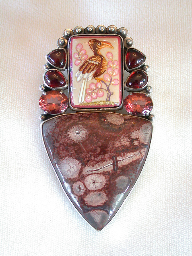 Amy Kahn Russell Online Trunk Show: Russian Hand Painting on Black Onyx, Garnet, Quartz & Fancy Jasper Pin/Pendant | Rendezvous Gallery