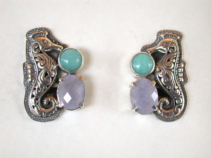 Amy Kahn Russell Online Trunk Show: Sterling Silver, Amazonite & Chalcedony Clip Earrings | Rendezvous Gallery