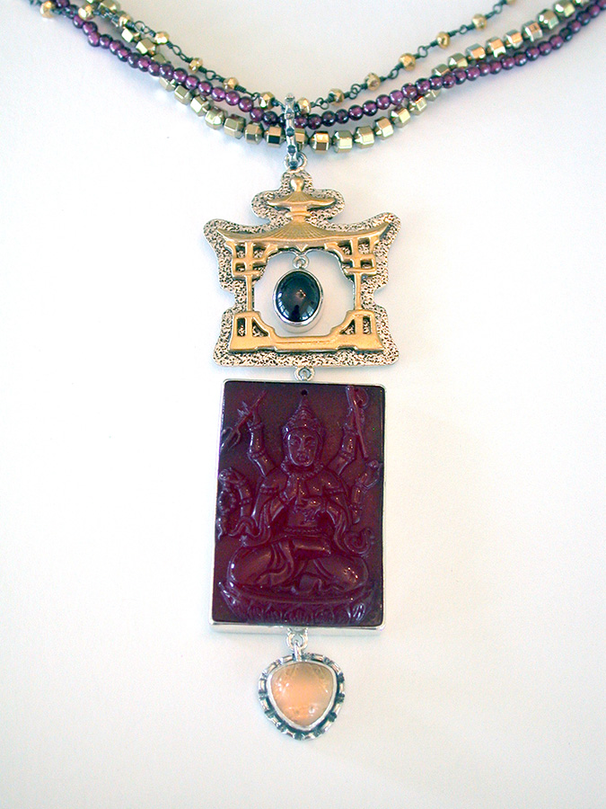 Amy Kahn Russell Online Trunk Show: Garnet, Carved Agate & Crystal Necklace | Rendezvous Gallery