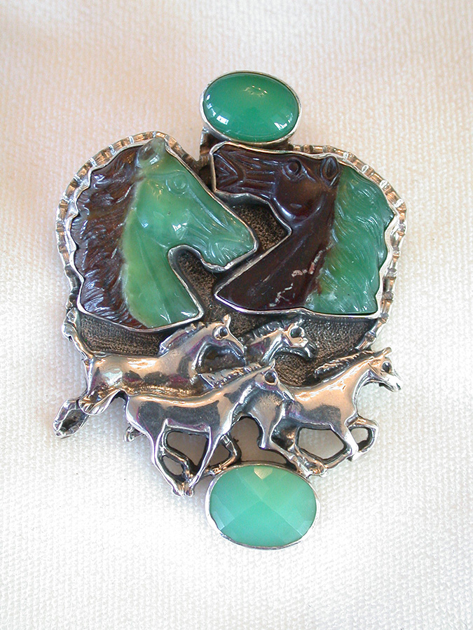 Amy Kahn Russell Online Trunk Show: Smooth & Hand Carved Chrysoprase Pin/Pendant | Rendezvous Gallery