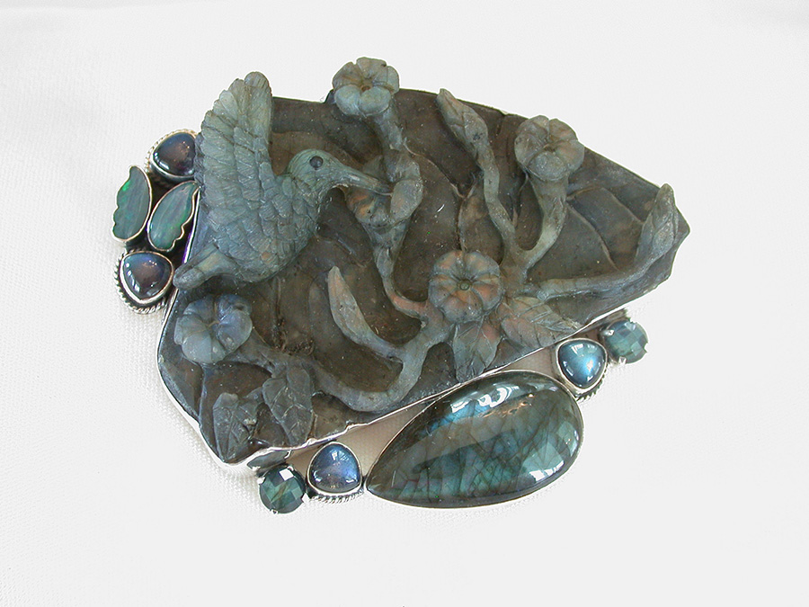 Amy Kahn Russell Online Trunk Show: Hand Carved Boulder Opal, Labradorite & Opal Pin/Pendant | Rendezvous Gallery