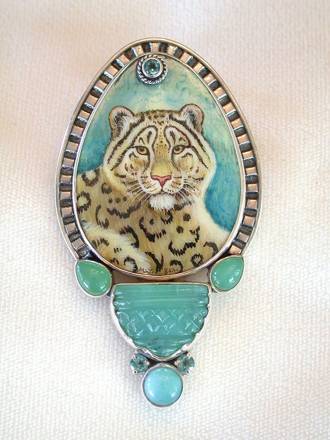 Amy Kahn Russell Online Trunk Show: Russian Hand Painting on Mother of Pearl, Blue Topaz & Chrysoprase Pin/Pendant | Rendezvous Gallery