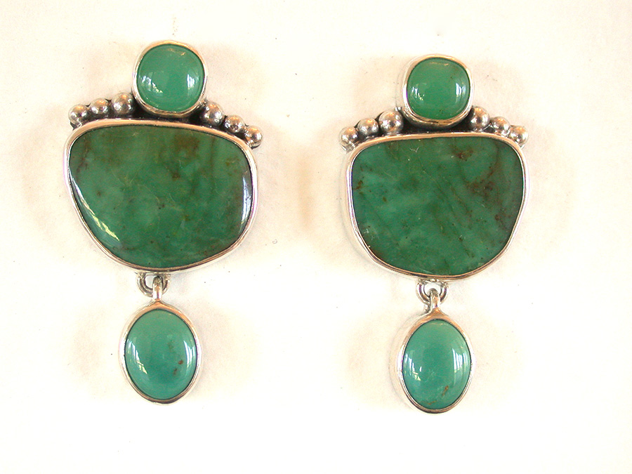Amy Kahn Russell Online Trunk Show: Chrysoprase & Turquoise Clip Earrings | Rendezvous Gallery