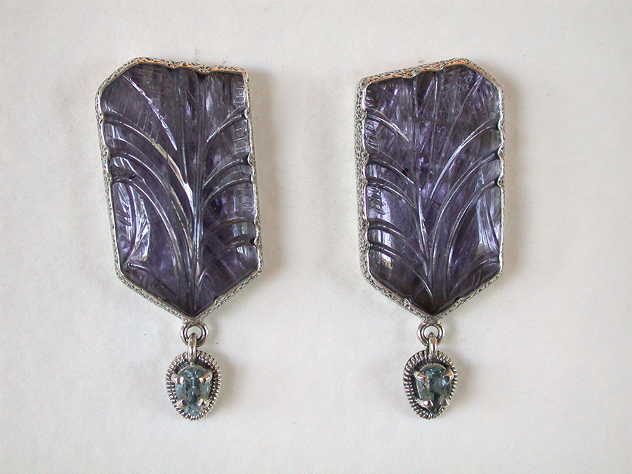 Amy Kahn Russell Online Trunk Show: Hand Carved Iolite & Faceted Blue Topaz Clip Earrings | Rendezvous Gallery