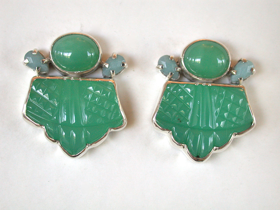 Amy Kahn Russell Online Trunk Show: Chrysoprase & Amazonite Clip Earrings | Rendezvous Gallery