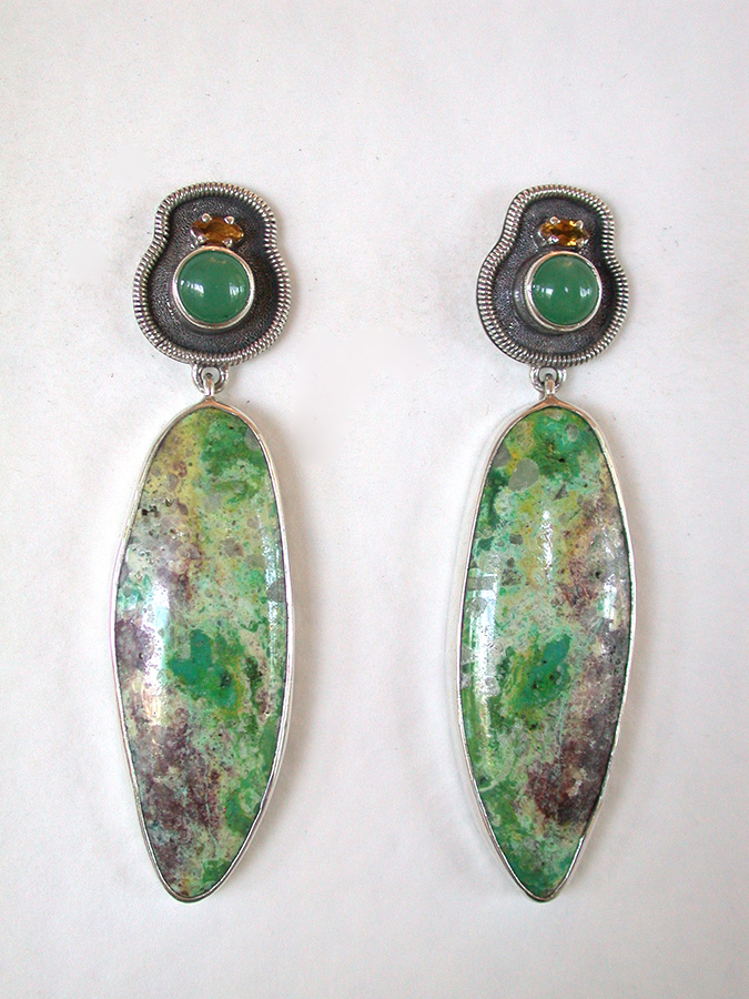 Amy Kahn Russell Online Trunk Show: Citrine, Chrysoprase & Jardin de Primavera Post Earrings | Rendezvous Gallery