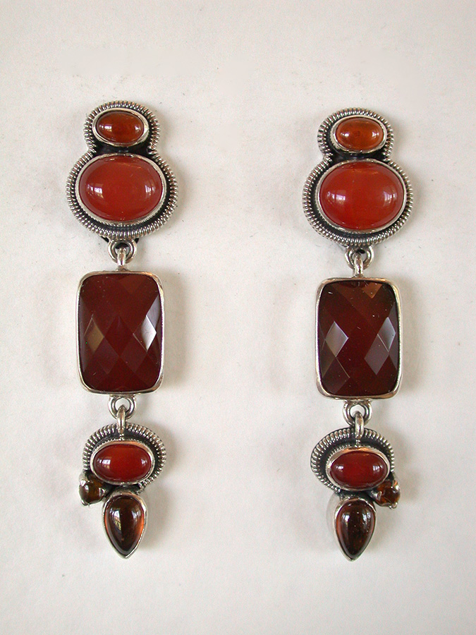 Amy Kahn Russell Online Trunk Show: Hessonite & Carnelian Clip Earrings | Rendezvous Gallery