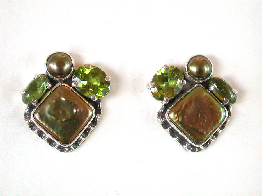 Amy Kahn Russell Online Trunk Show: Freshwater Pearl & Peridot Clip Earrings | Rendezvous Gallery