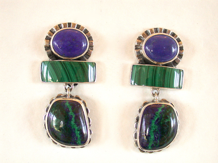 Amy Kahn Russell Online Trunk Show: Lapis Lazuli, Malachite & Azurite Malachite Clip Earrings | Rendezvous Gallery