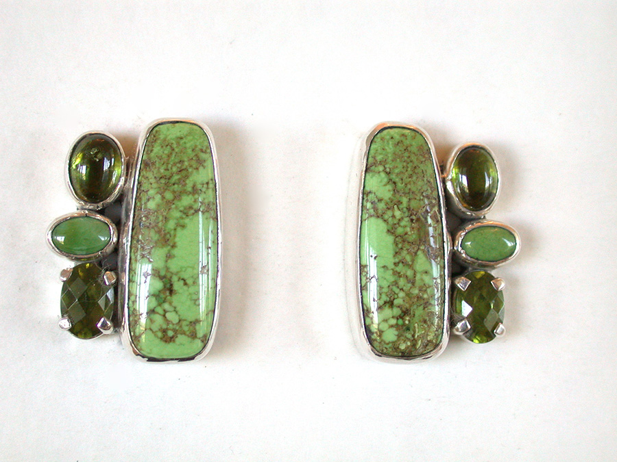 Amy Kahn Russell Online Trunk Show: Turquoise, Peridot & Gaspeite Clip Earrings | Rendezvous Gallery