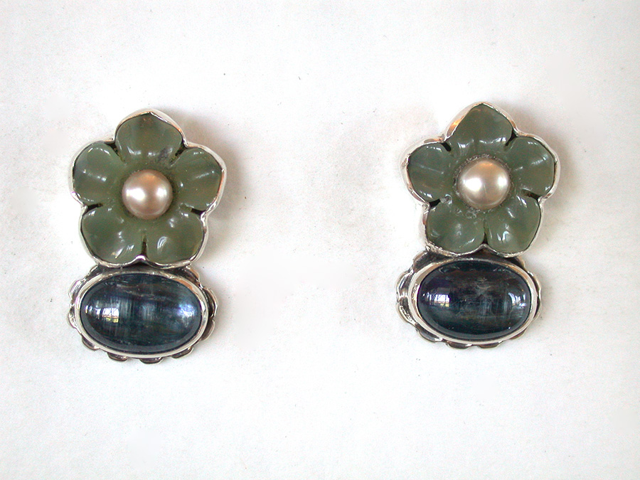 Amy Kahn Russell Online Trunk Show: Carved Jade, Freshwater Pearl & Apatite Post Earrings | Rendezvous Gallery