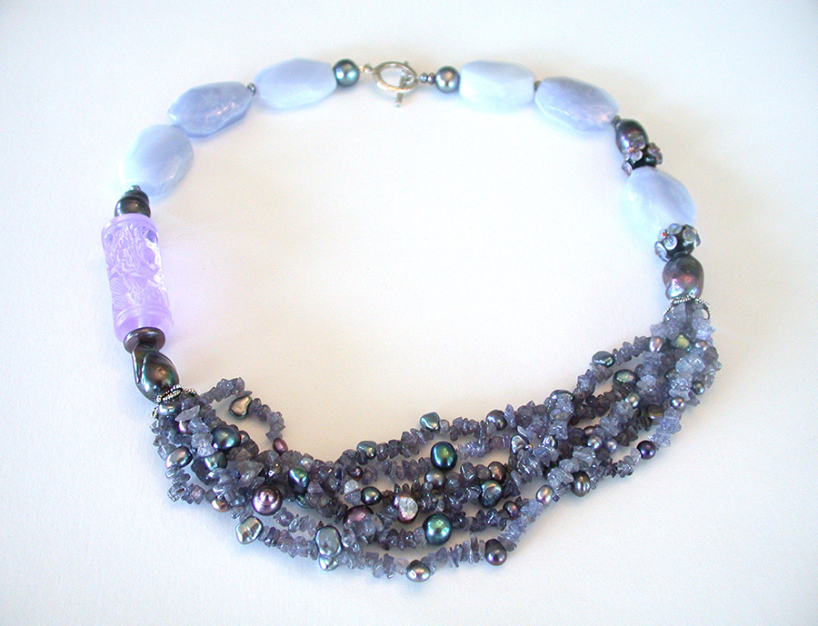 Amy Kahn Russell Online Trunk Show: Tanzanite, Pearl, Peking Glass & Chalcedony Necklace | Rendezvous Gallery