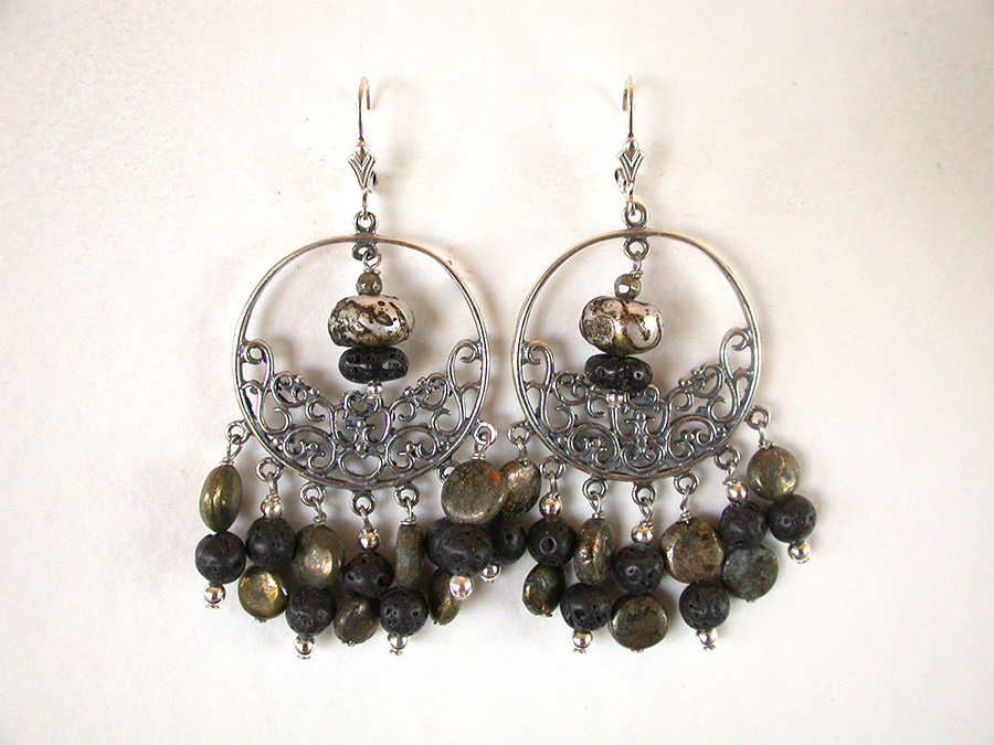 Amy Kahn Russell Online Trunk Show: Pyrite, Lava Stone & Sterling Silver Earrings | Rendezvous Gallery