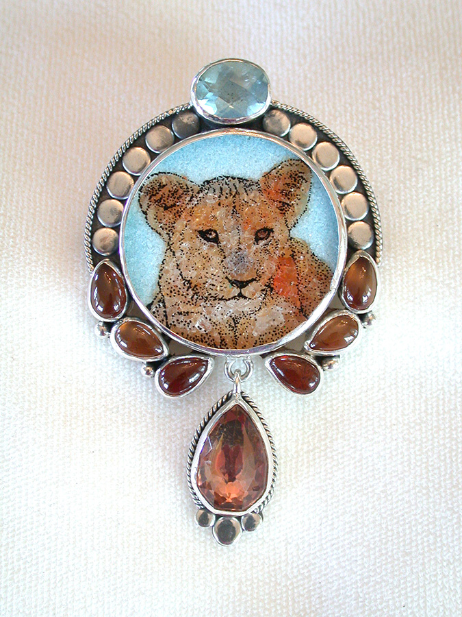 Amy Kahn Russell Online Trunk Show: Gemstone Mosaic, Blue Topaz, Hessonite & Quartz Pin/Pendant | Rendezvous Gallery