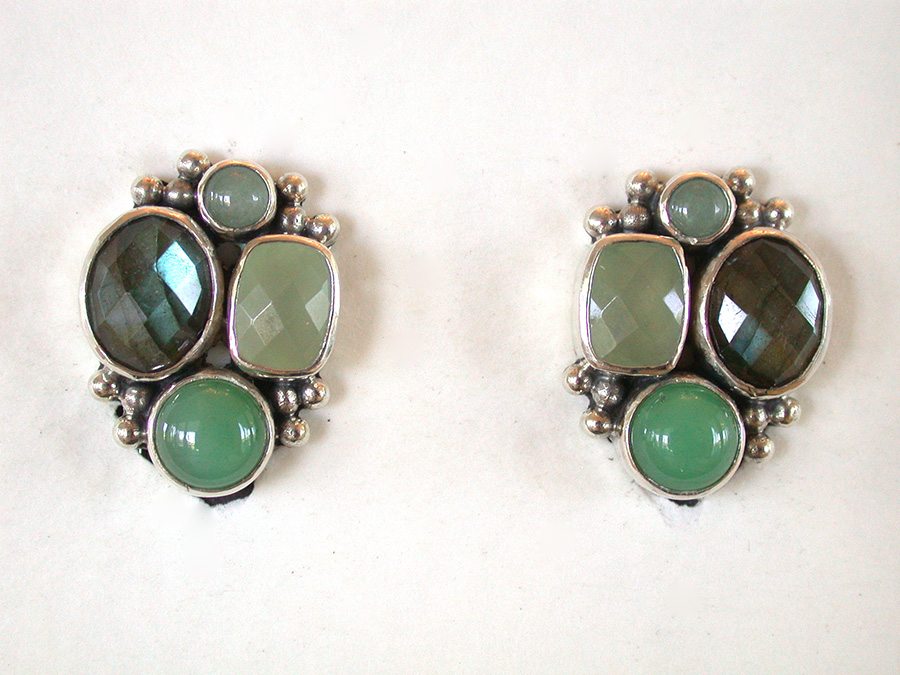 Amy Kahn Russell Online Trunk Show: Jade, Labradorite & Chrysoprase  Clip Earrings | Rendezvous Gallery
