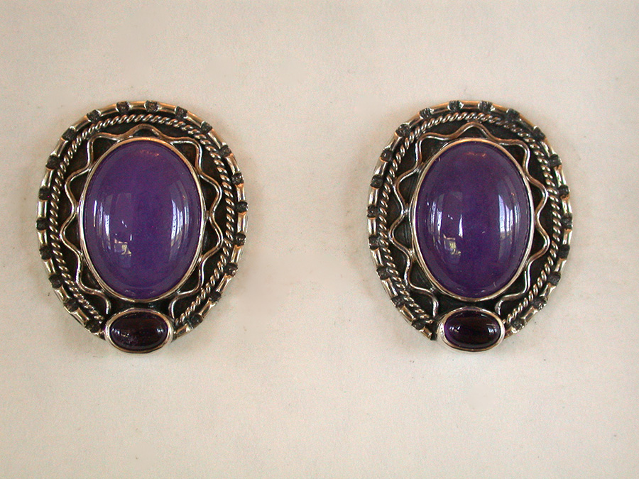 Amy Kahn Russell Online Trunk Show: Purple Agate & Amethyst Post Earrings | Rendezvous Gallery