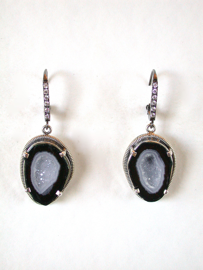 Amy Kahn Russell Online Trunk Show: Natural Geode & Pave Crystal Earrings | Rendezvous Gallery