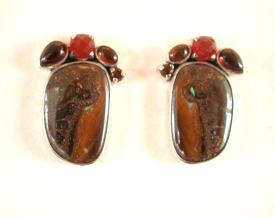 Amy Kahn Russell Online Trunk Show: Carnelian, Garnet & Boulder Opal Clip Earrings Earrings | Rendezvous Gallery