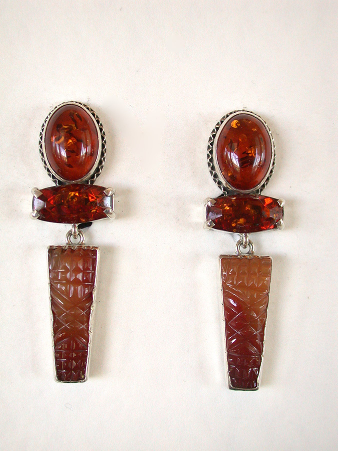 Amy Kahn Russell Online Trunk Show: Amber & Hand Carved Carnelian Clip Earrings | Rendezvous Gallery