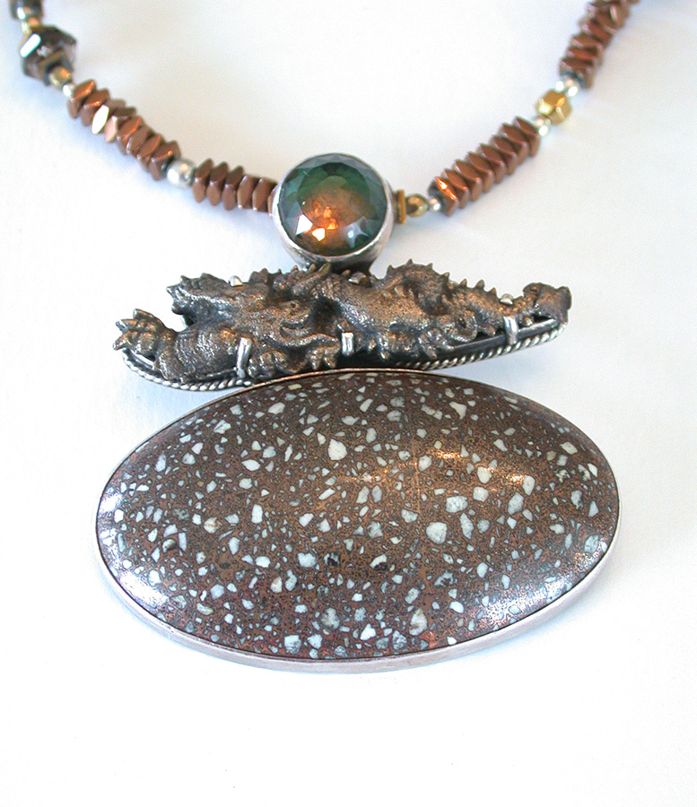 Amy Kahn Russell Online Trunk Show: Quartz, Japanese Menuki & Copper Fire Brick Necklace | Rendezvous Gallery