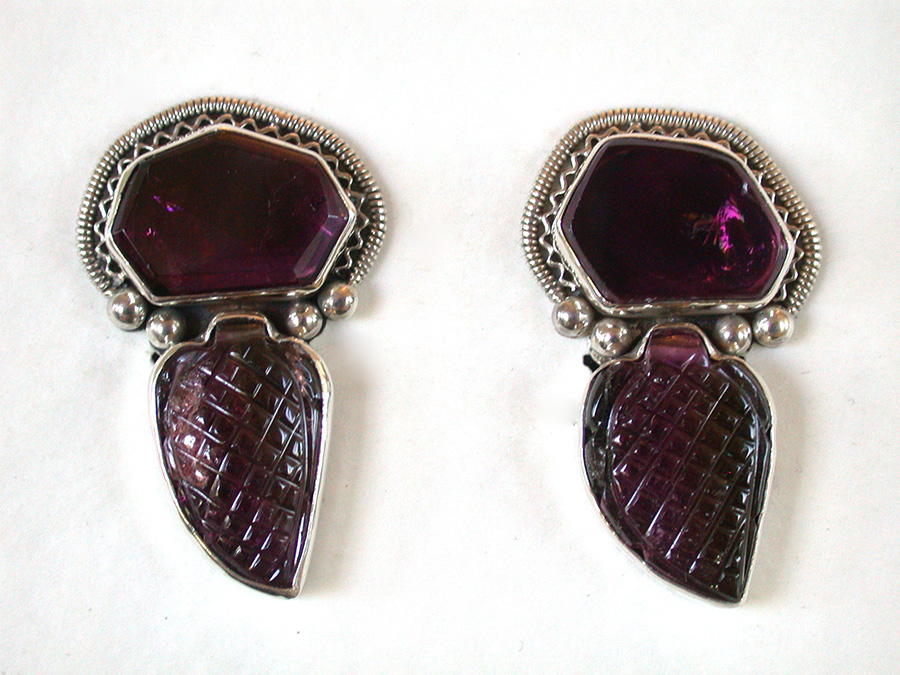 Amy Kahn Russell Online Trunk Show: Smooth & Hand Carved Pink Tourmaline Clip Earrings | Rendezvous Gallery