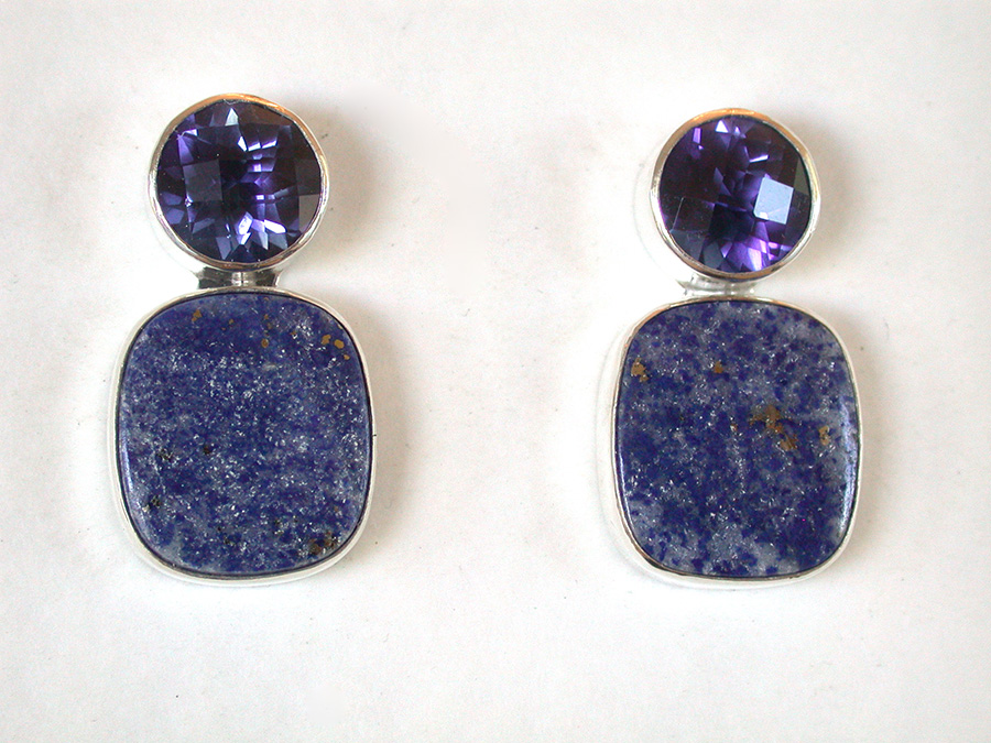 Amy Kahn Russell Online Trunk Show: Celestial Quartz & Lapis Lazuli Clip Earrings | Rendezvous Gallery