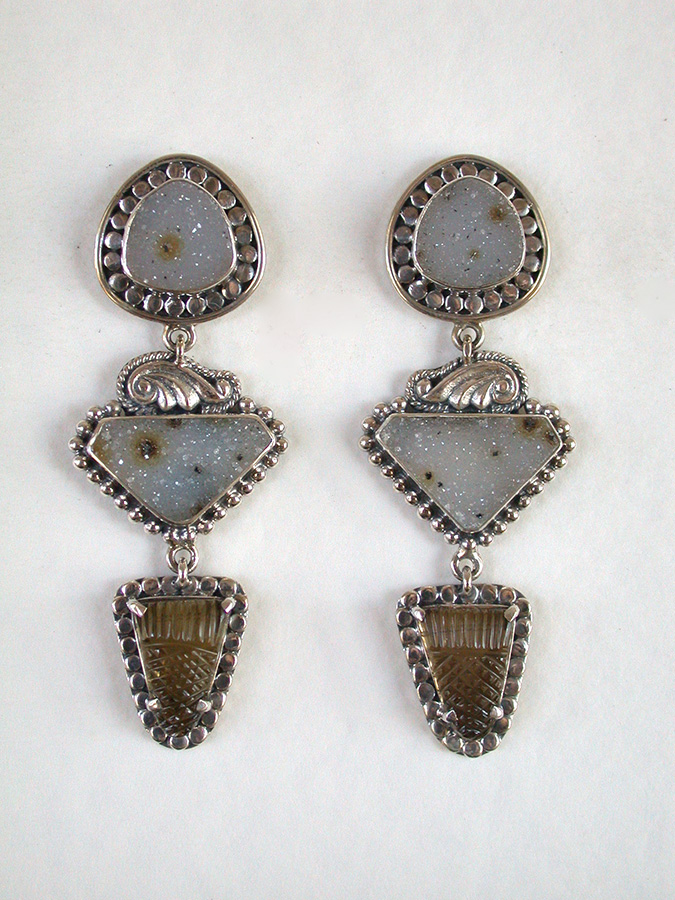 Amy Kahn Russell Online Trunk Show: Brazilian Agate Drusy & Carved Smoky Topaz Clip Earrings | Rendezvous Gallery