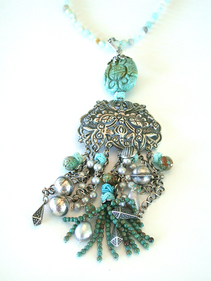 Amy Kahn Russell Online Trunk Show: Antique Silver, Carved Cinnabar, Turquoise, Amazonite & Pearl Necklace | Rendezvous Gallery