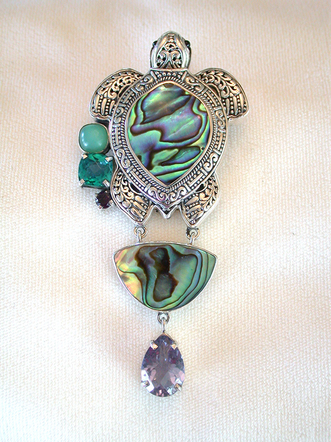 Amy Kahn Russell Online Trunk Show: Abalone, Amethyst, Chrysopras & Quartz Pin/Pendant | Rendezvous Gallery