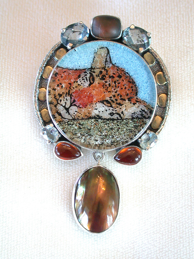 Amy Kahn Russell Online Trunk Show: Gemstone Mosaic, Blue Topaz, Quartz, Hessonite & Garnet Pin/Pendant | Rendezvous Gallery