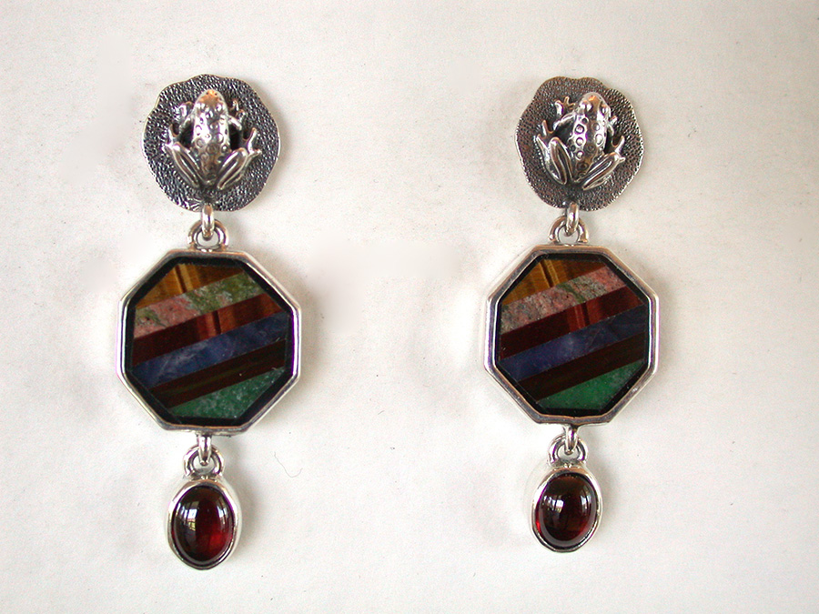 Amy Kahn Russell Online Trunk Show: Gemstone Mosaic & Garnet Post Earrings | Rendezvous Gallery