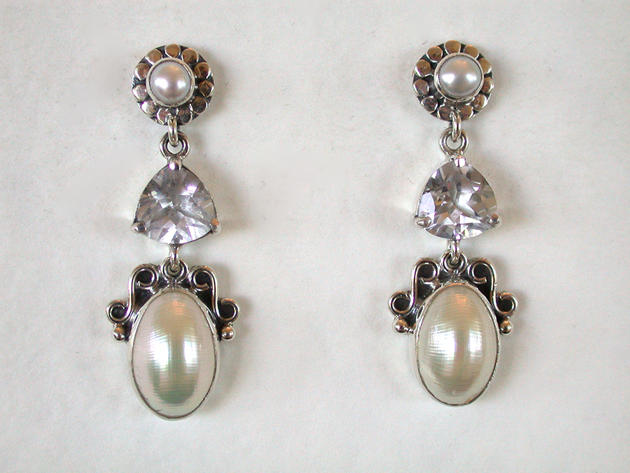Amy Kahn Russell Online Trunk Show: Freshwater Pearl & Quartz Post Earrings | Rendezvous Gallery