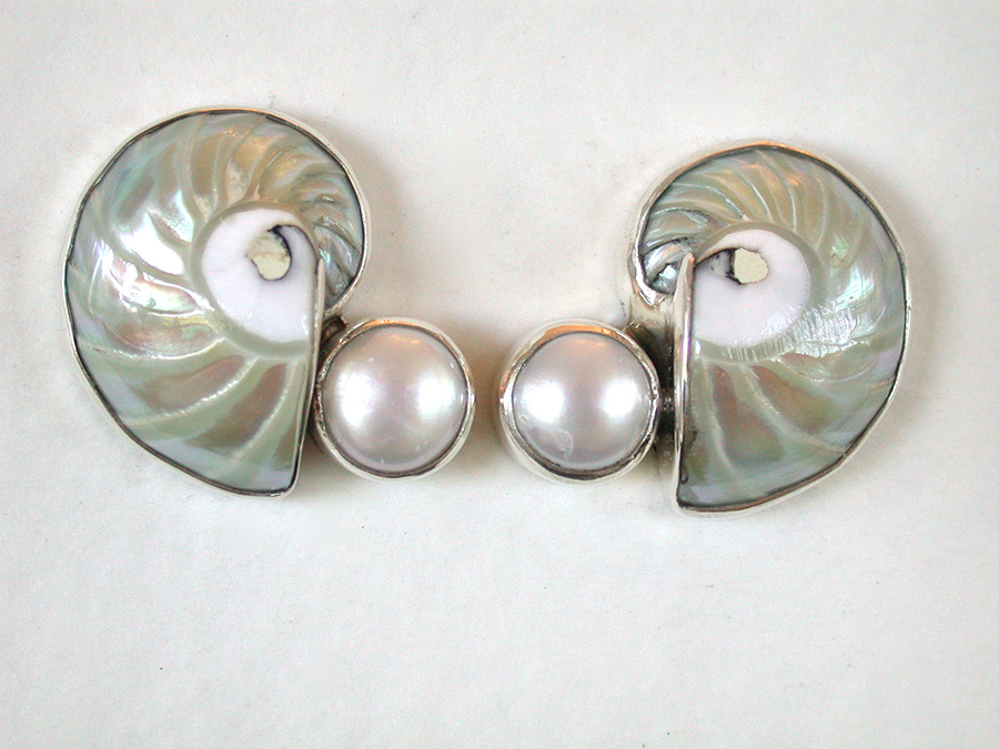 Amy Kahn Russell Online Trunk Show: Nautilus Shell & Freshwater Pearl Clip Earrings | Rendezvous Gallery