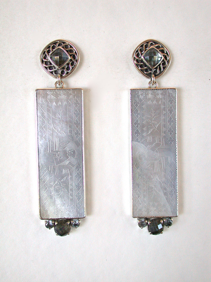 Amy Kahn Russell Online Trunk Show: Blue Topaz, Mother of Pearl & Labradorite Post Earrings | Rendezvous Gallery