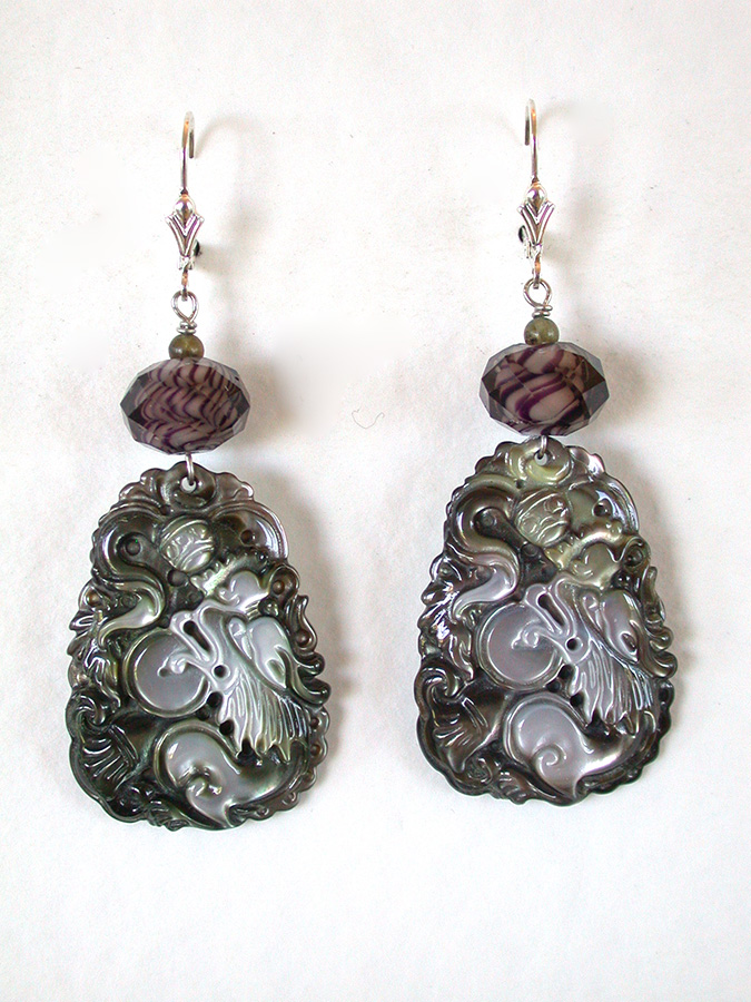 Amy Kahn Russell Online Trunk Show: Glass & Carved Mother of Pearl Earrings | Rendezvous Gallery