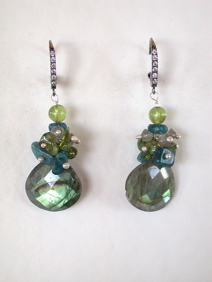 Amy Kahn Russell Online Trunk Show: Peridot, Apatite, Quartz, Labradorite & Pave Crystal Earrings | Rendezvous Gallery