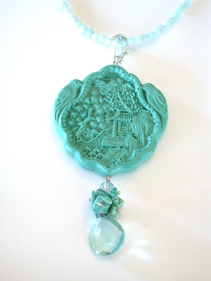 Amy Kahn Russell Online Trunk Show: Carved Cinnabar, Amazonite & Fluorite Necklace | Rendezvous Gallery