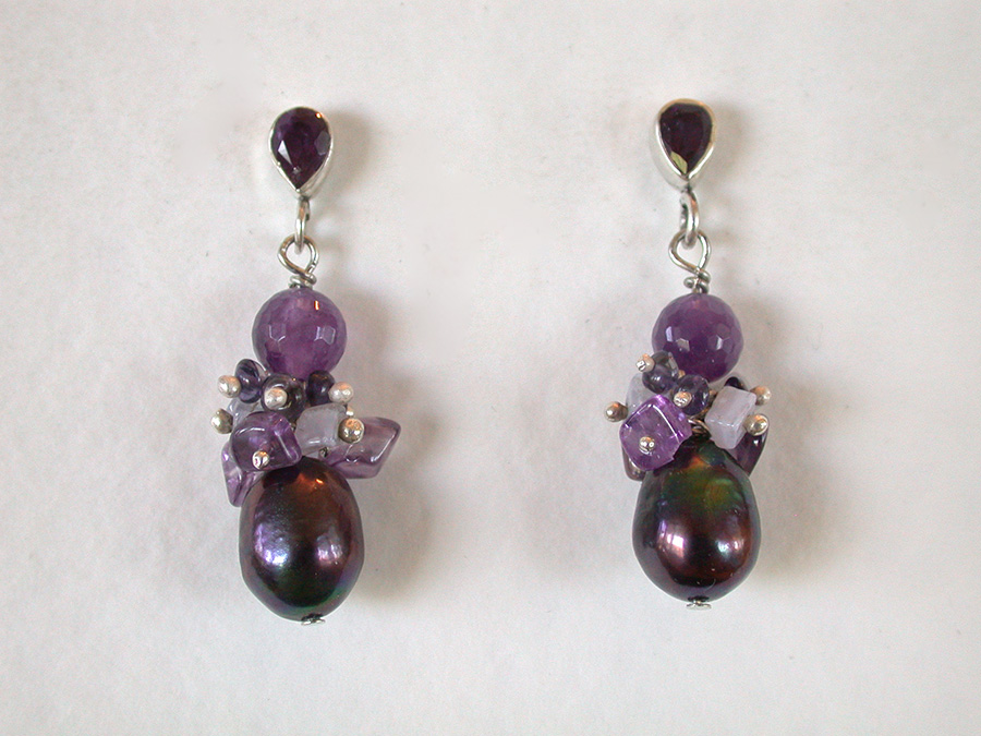 Amy Kahn Russell Online Trunk Show: Amethyst, Iolite, Chalcedony & Pearl Earrings | Rendezvous Gallery