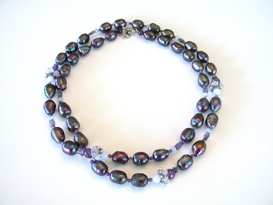 Amy Kahn Russell Online Trunk Show: Freshwater Pearl, Blue Lace Agate, Iolite & Chalcedony Necklace | Rendezvous Gallery