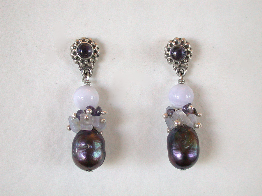 Amy Kahn Russell Online Trunk Show: Iolite, Blue Lace Agate, Chalcedony & Pearl Earrings | Rendezvous Gallery