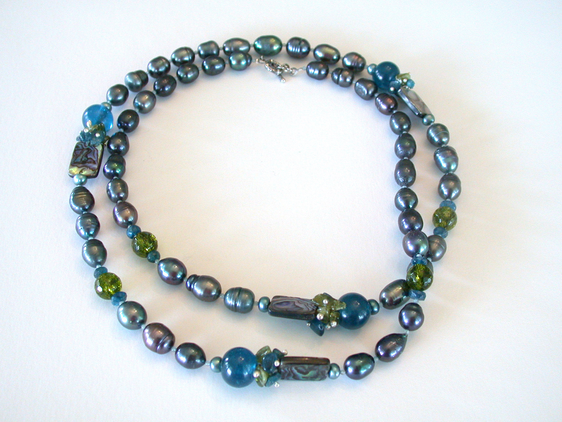 Amy Kahn Russell Online Trunk Show: Freshwater Pearl, Abalone, Apatite & Peridot Necklace | Rendezvous Gallery
