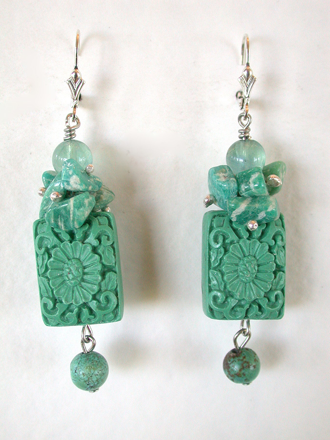 Amy Kahn Russell Online Trunk Show: Carved Cinnabar, Amazonite, Fluorite & Turquoise Earrings | Rendezvous Gallery