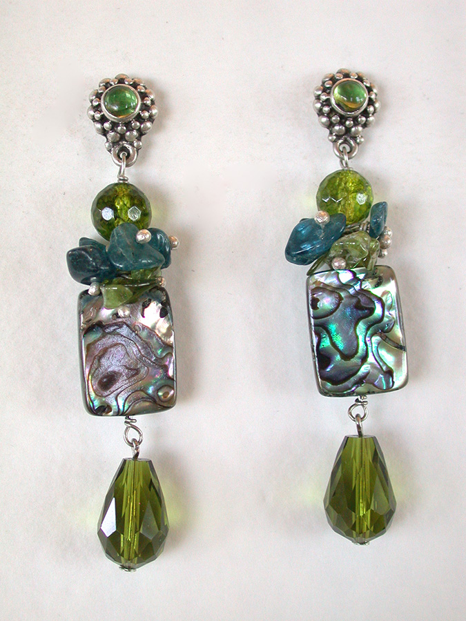 Amy Kahn Russell Online Trunk Show: Peridot, Apatite & Abalone Post Earrings | Rendezvous Gallery