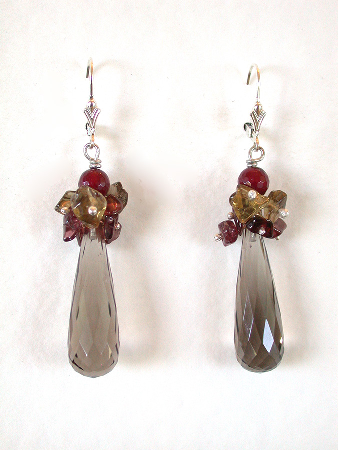 Amy Kahn Russell Online Trunk Show: Garnet & Smoky Topaz Earrings | Rendezvous Gallery