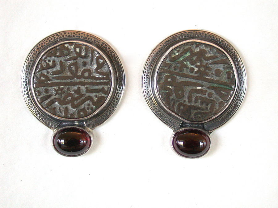 Amy Kahn Russell Online Trunk Show: Vintage Metal Coin & Garnet Clip Earrings | Rendezvous Gallery